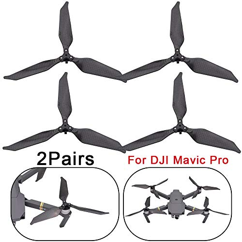 Hisoul for DJI Mavic Pro Drone Propellers Foldable Low-Noise Advanced Full Carbon Fiber Propellers 3-Blade - 1 Pairs/2 Pairs (A)