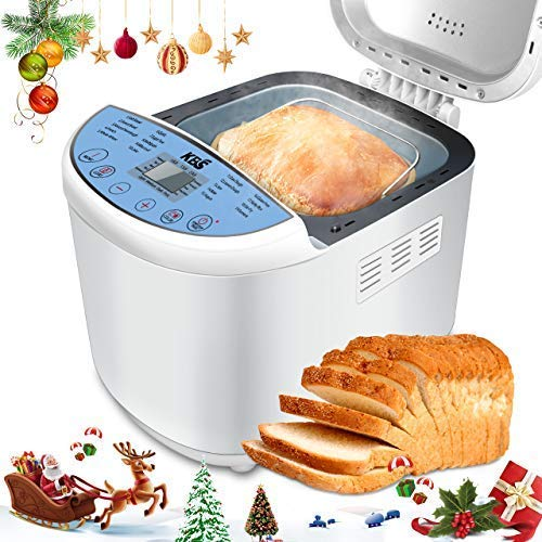 KANGBAISHI KBS Automatic Upgraded Bread Maker Machine, 19 Programs Including Gluten-Free Setting, 3 Crust Colors, 15 Hours Delay Time, 1 Hour Keep Warm, Easy Operation, 2 LB Large Capacity for Home Bake price tips cheap