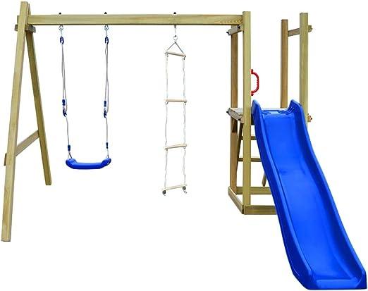 Festnight Parque Infantil Jardin con Tobogán Ondulado Escaleras y Columpio de Madera FSC: Amazon.es: Hogar