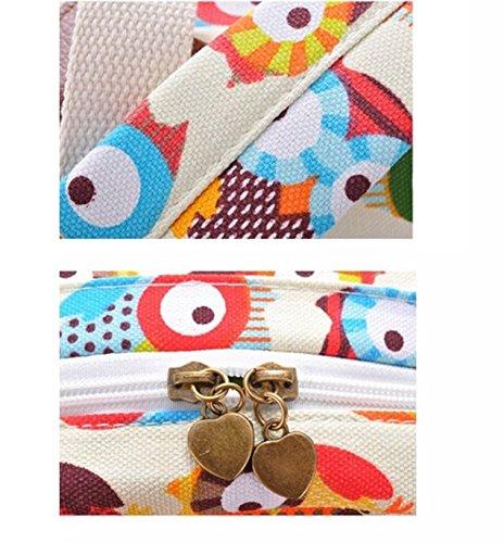 nalmatoionme Multicolor Impresión de hombro mochila diseño de búhos