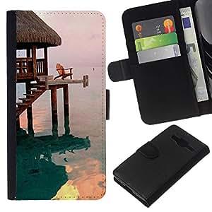 All Phone Most Case / Oferta Especial Cáscara Funda de cuero Monedero Cubierta de proteccion Caso / Wallet Case for Samsung Galaxy Core Prime // House Bungalow Sea Ocean