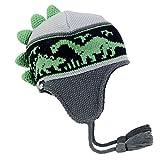 Turtle Fur Kids Boys Dr. Dino, Fleece Lined Dinosaur Earflap Hat, Gray