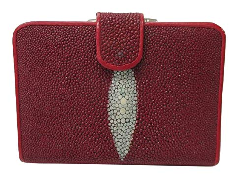 Drumsurn Imports Genuine Stingray Leather French Purse, Red