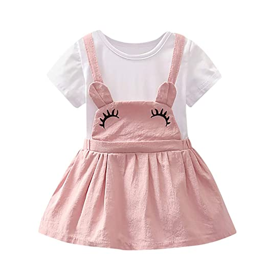 acfb7e809c6a Amazon.com  GorNorriss Baby Dress Summer Newborn Toddler Girls Cartoon Ear  Strap Casual Dress Clothes  Clothing