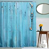 WOPS® Bathroom Shower Curtain - Waterproof Polyester Home Bathroom Shower Curtain Blue Door Key Pattern Shower Curtains Decor With 12 Hooks