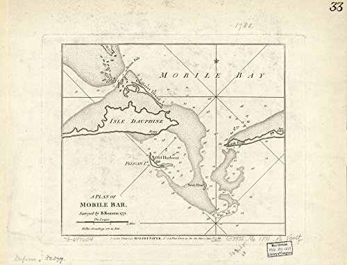 1788 map A Plan of Mobile Bar,|Size 18x24 - Ready to Frame| Alabama|Mobile Bay|Mobile Bay Ala|Nautical Charts| ()