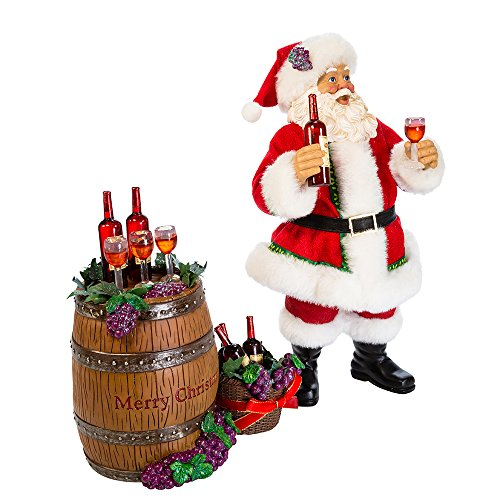 "Kurt S. Adler 10"" Santa with Wine Bottles and Barrel Figure (Set of 2), 2 Piece"