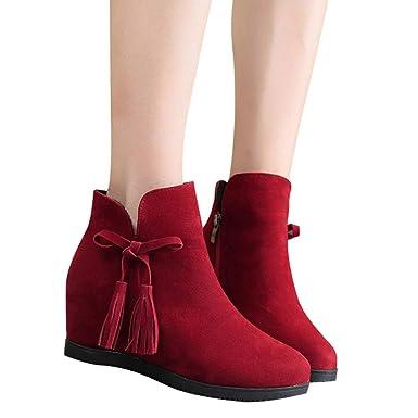 Viernes Negro JiaMeng Suede Cuñas Zipper Borla Botines Casual Shoes Navidad Boots Botines Impermeable Plano Botines con Forro Calentar: Amazon.es: Ropa y ...