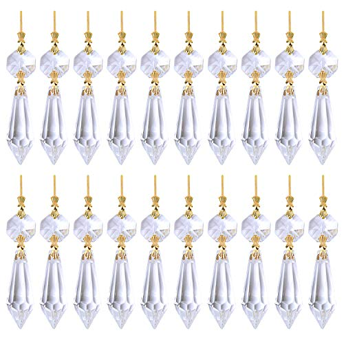 (BronaGrand 20 Pieces Replacement Clear Chandelier Icicle Crystal Prisms Octogan Crystal Bead for Lamp Decoration,38mm,Gold Bow Tie Connectors)