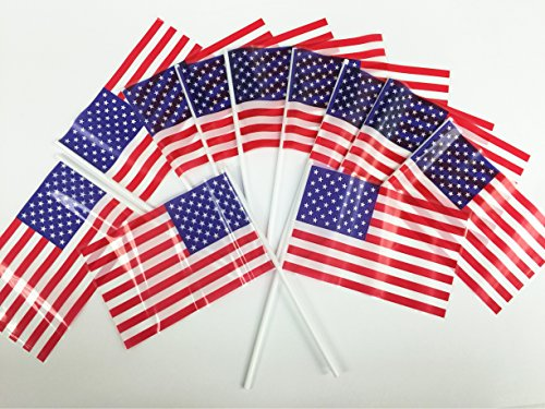 GIFTEXPRESS® Pack of 72, Small Plastic American Flags 4x6 Inch/ Small US Flag/Mini American Stick Flag/USA Stick Flag (Plastic Flags)