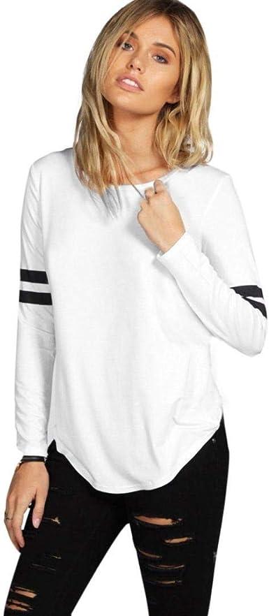 Blusa Larga para Mujer Blusas De Moda para Mujer Camiseta Ropa Suelta A Rayas Camisa Básica De Cuello Alto con Manga Larga para Mujer: Amazon.es: Ropa y accesorios