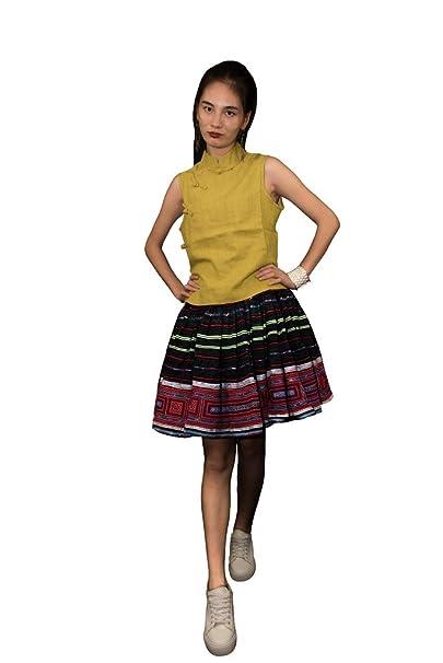Interact China Falda Plisada Bordada Tribal Hmong Vestido Vintage Algodón 100% Artesanía #115