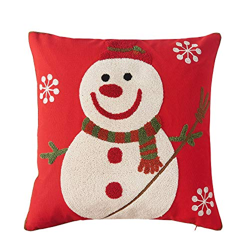 Vaulia Decorate Square Throw Pillow Cover, Snowman Embroidery Pattern for Christmas Decorations -100% Cotton, Red/White (18x18 in.)