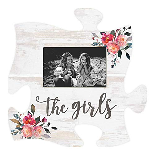 (P. Graham Dunn The Girls Floral Pink On White 12 x 12 Wood Puzzle Piece Wall Photo Frame)