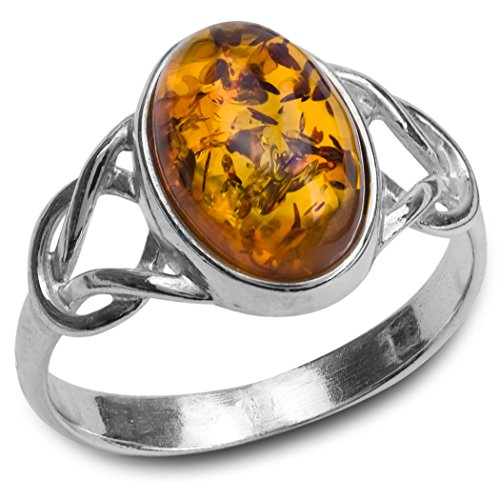 Amber Sterling Silver Oval Celtic Ring