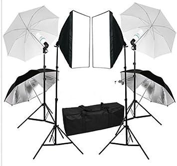 Mvpower Estudio Fotografia 2x Softbox(50x70cm) 4x Soporte 4 x Paraguas Iluminación 4x Bombilla