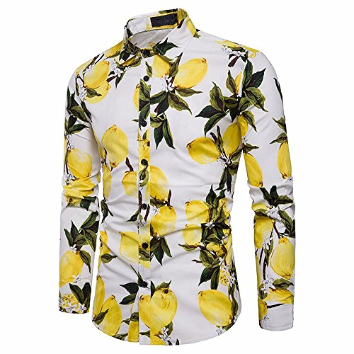 (Sunhusing Men's Summer Fresh Lemon Pattern Print Long Sleeve Shirt Slim Fit Button-Down Formal Top)