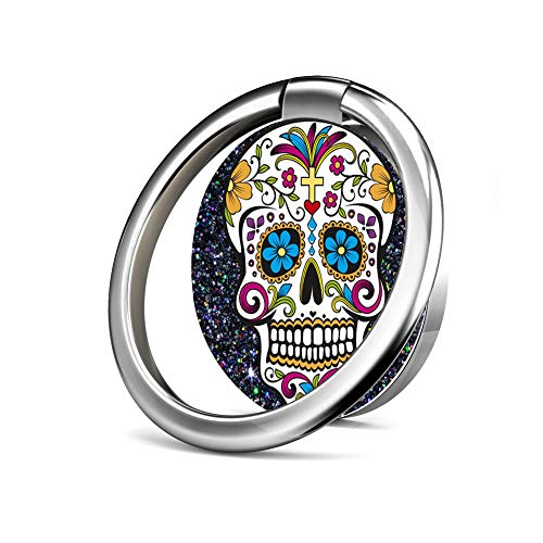 Cell Phone Ring Holder Stand,Phone Grip Car Mounts 360 Degree Rotation Finger Ring Stent Compatible iPhone X 8 7 6 Plus, Samsung Galaxy and Tablets - Sugar Skull