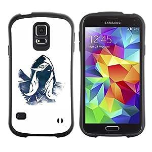"Hypernova Slim Fit Dual Barniz Protector Caso Case Funda Para Samsung Galaxy S5 [Héroe misterioso personaje Azul Blanco Capucha""]"