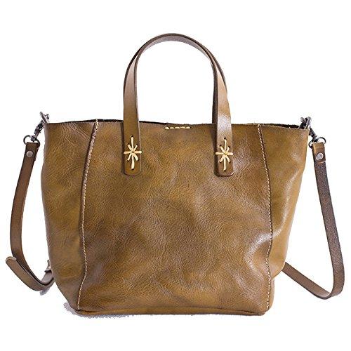 YANJJ Womens Super Doux Sac à Bandoulière En Cuir Véritable/Sac à Main/Sacs à Bandoulière Haute Capacité Retro Vintage Messenger Bag Green