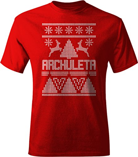 Archuleta T-shirt (ARCHULETA Ugly Sweater Christmas Holiday Adult Unisex Tee Shirt Men's Med Red c1)