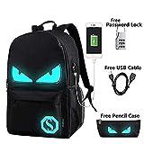 Cool Boys School Backpack Luminous School Bag Music Boy Backpack for Kids (Black Devil Eye)(Size: 17.71*11.81*5.51inch)