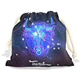 Constellation Zodiac Sign Taurus Velvet Drawstring Gift Bag Wrap Present Pouches Favor for Jewelry, Coin, Holiday, Birthday, Party, 6X8 Inches