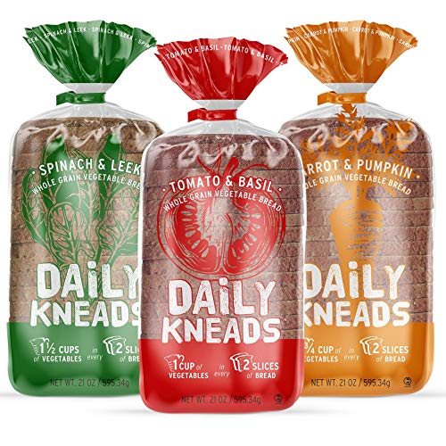 Daily Kneads Bread Sliced Loaf Whole Grain Veggie Bread (Variety, 3-Pack)   3 Vegetable Bread Loaves (63 oz total)   All natural wholesome ingredients, non-GMO, no artificial colors, vegan, nut-free