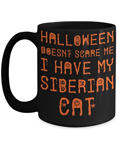 Halloween Siberian Cat Mug - White 11oz Ceramic Tea Coffee Cup - Perfect For Travel And Gifts -