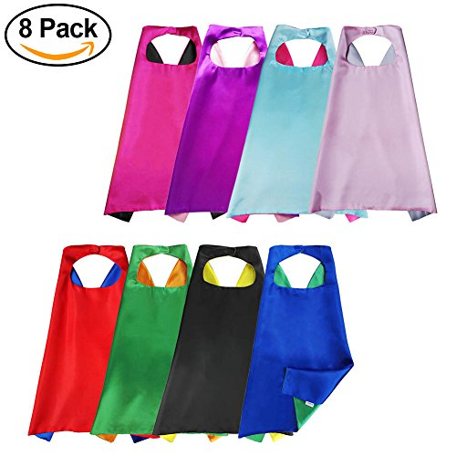 [Aimike Superhero Party Dress Up Cape Reversible Dual Color for Kids - Pack of 8] (Costumes For Adults Diy)