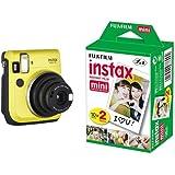 Fujifilm Instax Mini 70 Canary Fotocamera Istantanea per Stampe Formato 62x46 mm, Giallo + 2 x Fujifilm Instax Mini Film 10 Pellicola Instantanea per Instax Mini 7S, Mini 25 e Mini 50S, Set 2 Pezzi