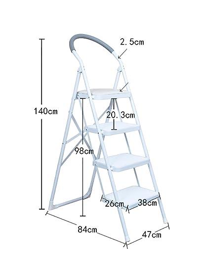 Escalera Plegable YXX- 4 - Taburete de sillas para Taburete Adulto agarradera y Antideslizante de