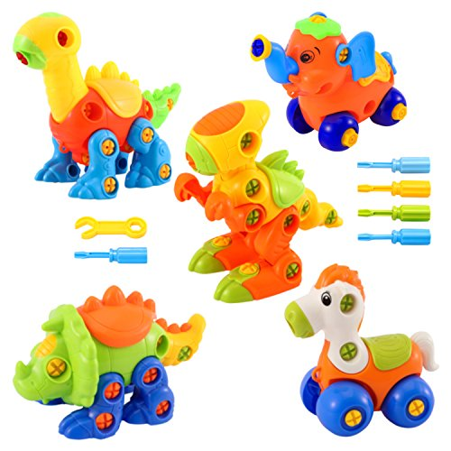 stem toys for babies Glonova Dinosaur Toys Take Apart Toys With Tools (Pack of 5, 144 Pcs) - Construction Engineering STEM Learning Toy Building Play Set - Best Toy for Boys & Girls Age 3+