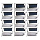 Easternstar Solar Lights,Outdoor Waterproof Step Lights,Stainless Steel 3 LED Lights Illuminates Stairs Patio