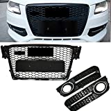 Front Honeycomb Grille Fog Light Grill Cover For Audi A4 S4 B8 8T RS4 2009-2012