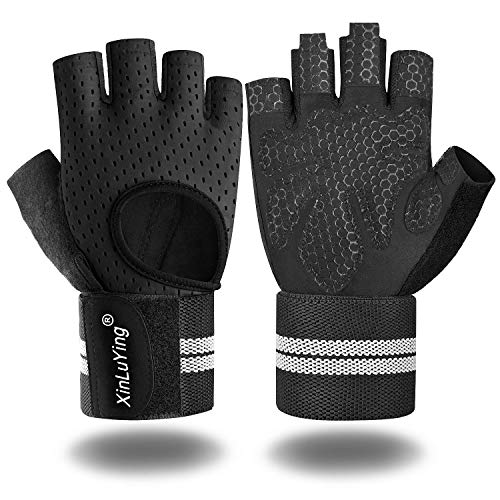 Xinluying Workout Gloves for Men Women - Gym Training Gloves with Wrist Support for Fitness Exercise Weight Lifting Crossfit Bodybuilding Black Large