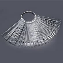 50pcs/Set DIY False Nude Nail Art Fan Wheel Polish Practice Tips Sticks Display Tool Hot Sale (Clear)