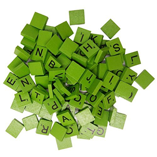 Jiliオンライン100ピースAssorted木製パズルタイルまたはLetters–ジュエリー/スクラップブッキングの商品画像