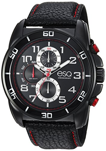 ESQ Men's 'Sport' Quartz Stainless Steel and Leather Casual Watch, Color Black (Model: 37ESQE21001A)