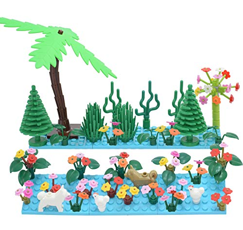 Sawaruita Garden Building Sets Parts Leaves Scenery Accessories Princess Animals Trees Plants Flowers Compatible with All Major Brands Kids Games (Lake Blue) ()