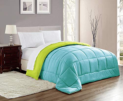 RT Designers Collection Chelsea Reversible Down Alternative Comforter in Blue/Lime, Full/Queen,