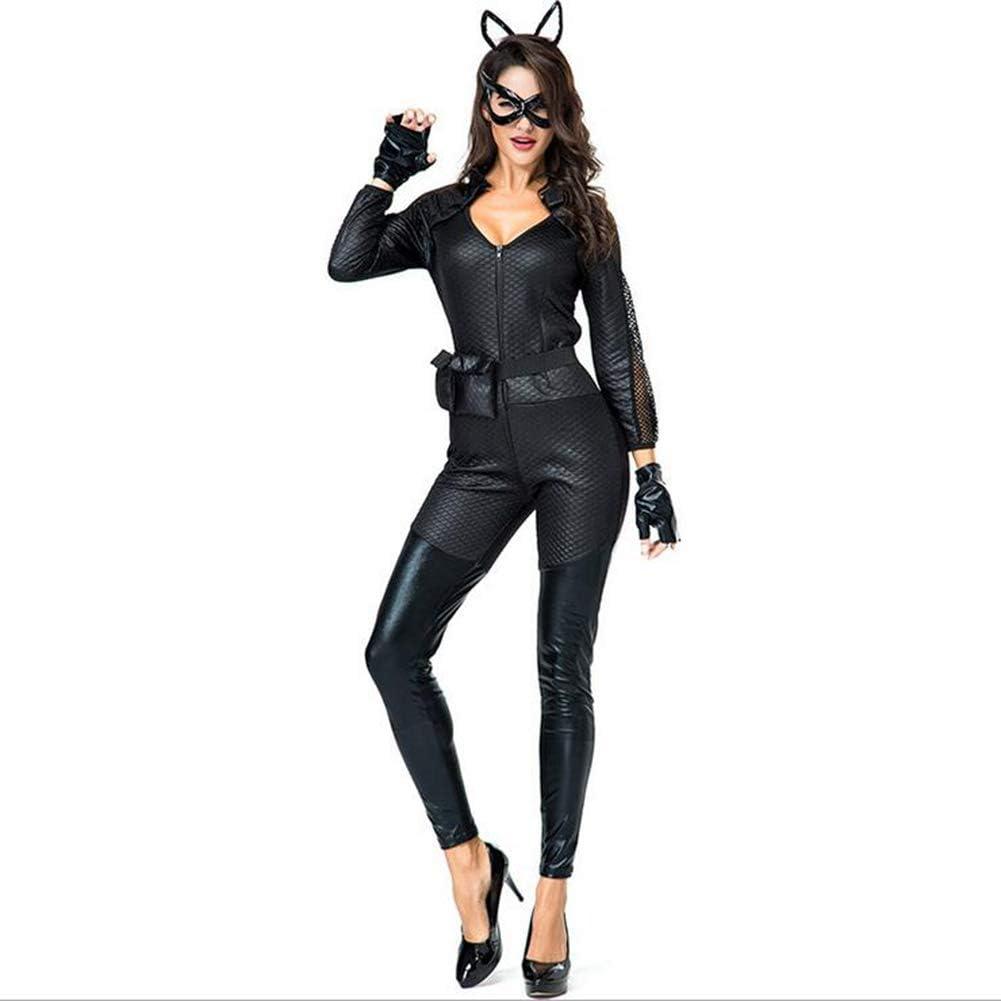 Halloween Cosplay Disfraz Cuero Gato Uniforme de Mujer Conjunto ...