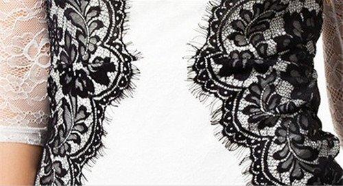 QIYUN.Z Dentelle Noire Blancs elegants Maille Sexy Manches Courtes Femmes Mini Robe Moulante Mince