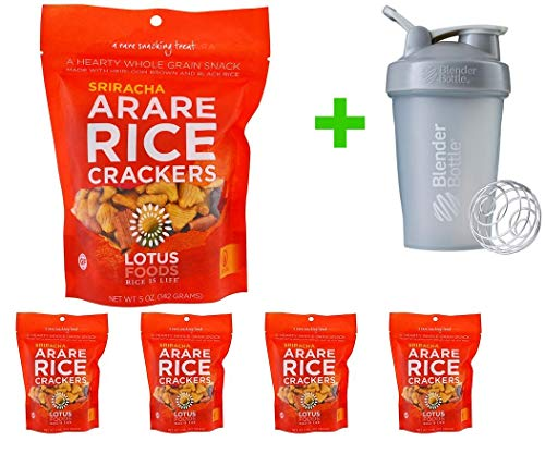 - Lotus Foods, Arare Rice Crackers, Sriracha, 5 oz (142g) (5 PACKS) + Blender Bottle 20 oz (Assorted Bottle)