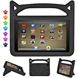 "F i r e H D 8 Kids Case, Roasan Super Protection Lightweight Handle Shockproof Screen Protector F i r e H D 8"" Tablet (7th 2017 Gen / 6th 2016 Gen, Black)"