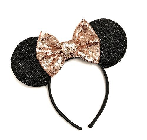 Rose Gold Mouse Ears,  Sparkly Mouse Ears, Mouse Ears headband -
