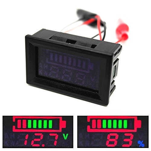 ttery Tester 12V 24V 48V Lithium ion Battery Gauge Capacity Voltmeter Digital Voltage Monitor 6V-120V Universal Battery Indicator with Cable Clips ()