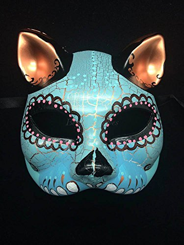 Day of the Dead Halloween Masquerade Mask Dia De Los Muertos Mask -Sky Blue Teal -