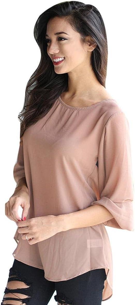 Amlaiworld - Camisas - Animal Print - para mujer Beige rosa Medium: Amazon.es: Ropa y accesorios