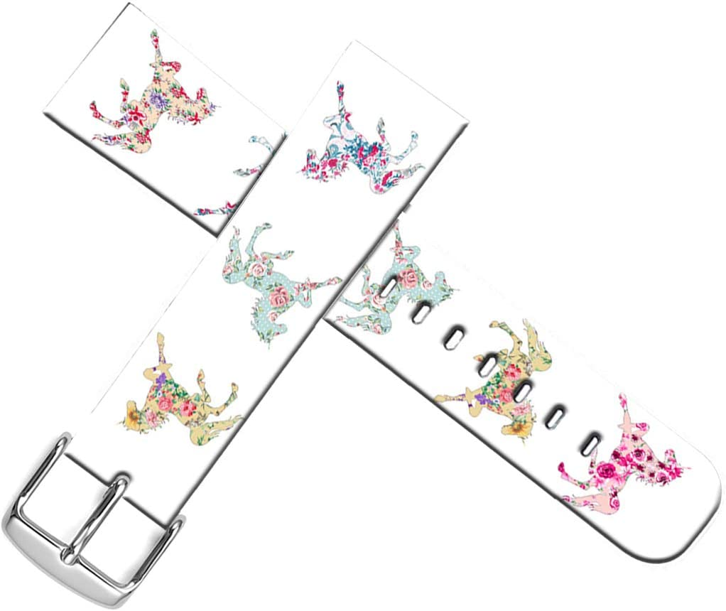 Strap Compatible for Apple Watch Series SE/6/5/4/3/2/1 38mm/40mm Leather - ENDIY Designer Leather Band Replacement for Iwatch Floral Flower Colorful Cute Horse Animal Design Print for Girls